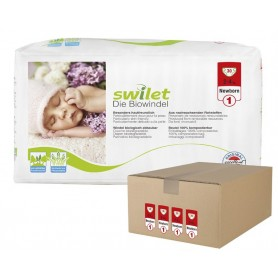 Pañales Ecológicos Swilet Talla 1 New Born (2-4 Kg) - Pack de 4 x 30 Pañales - Total 120 Pañales